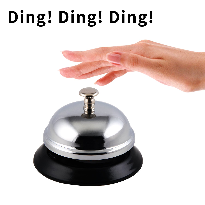 No-Slip School Service Bell for Office Chrome Finish Hotels,TIANSE All-Metal Construction Restaurants Desk Ring Call Bell