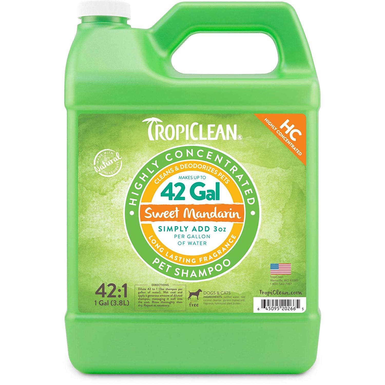 COSMOS 202665 Tropiclean High Concentrate 42 to 1 Sweet Mandarin Shampoo-1 Gallon Jug