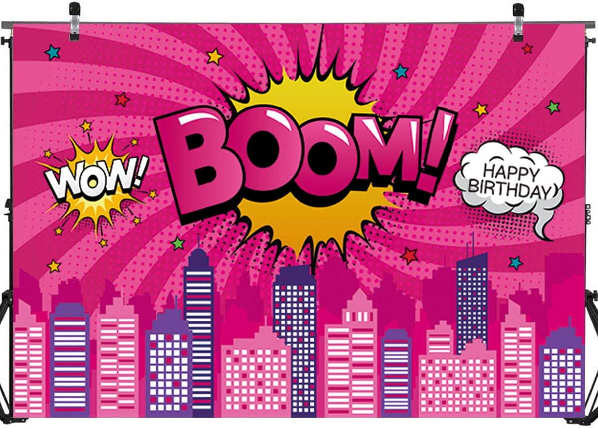 Pink Superhero Girls Birthday Backdrop Banner Decorations,Supergirl City Birthday Baby Shower Party Backdrop Background Banner Photo Booth Props Cake Table Decorations 71x 49inch