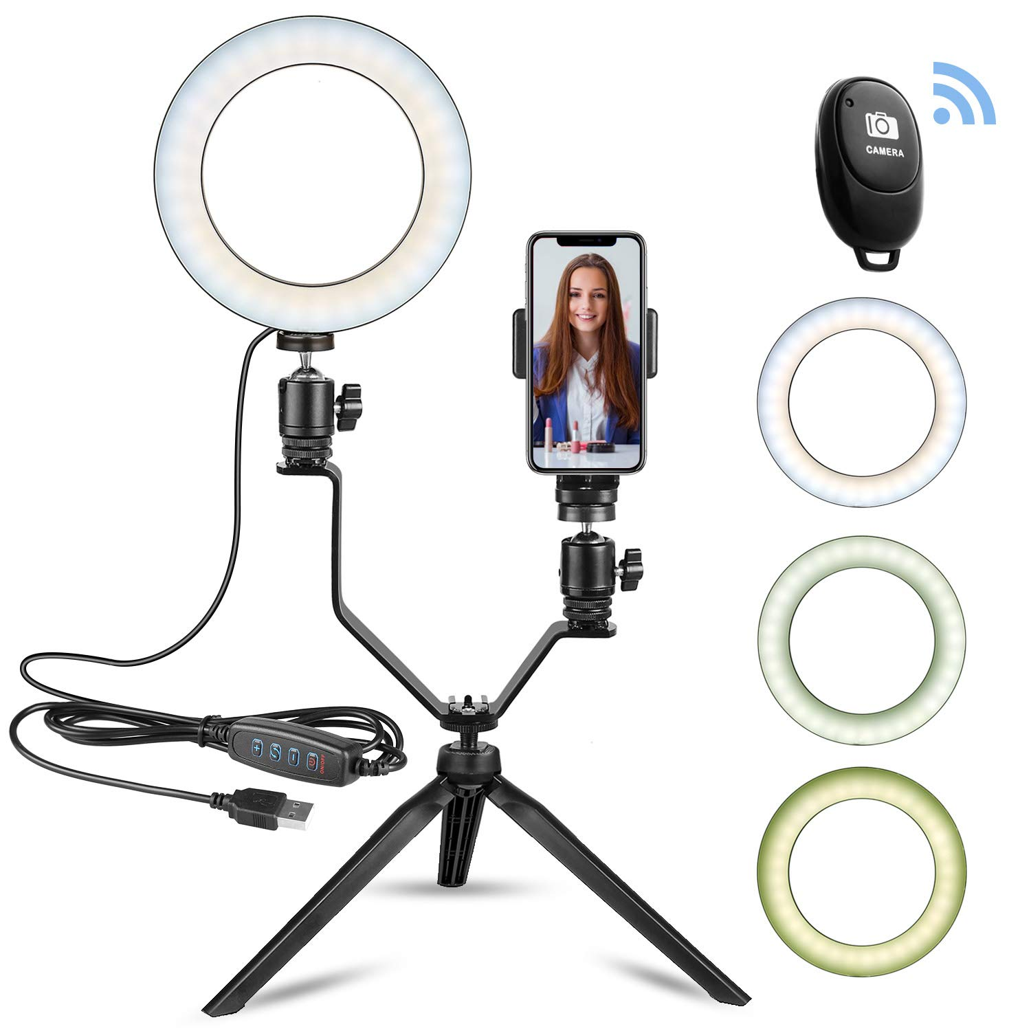 """6"""" LED Ring Light with Tripod Stand for Makeup/YouTube Video, Lampolar Mini Desktop Led Camera Ringlight for Live Stream/Photography Compatible with iPhone Xs Max"""