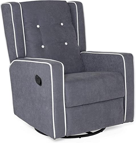Best Choice Products Microfiber Tufted Mid-Century Polyester Upholstered Glider Recliner Lounge Rocking Chair w/ 360-Degree Swivel