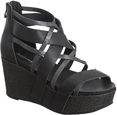Wide Strappy Wedge Sandals