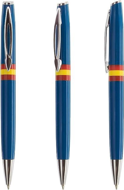 LOTE DE 10 BOLIGRAFOS DOS COLORES (AZUL Y BLANCOS) CON LA BANDERA ESPAÑOLA- Escritura azul y sisitema giratorio: Amazon.es: Oficina y papelería