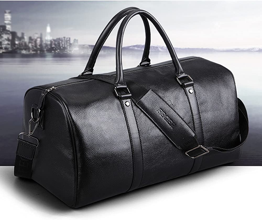 Jamdra Genuine Leather Travel Luggage with Shoes Pouch Gym Sports Tote Duffel Bags