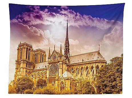 Vipsung Paris Decor Tablecloth Notre Dame Cathedral Paris Parisian Gothic  Trees Forest Sunshines Cloudy Sky Dining