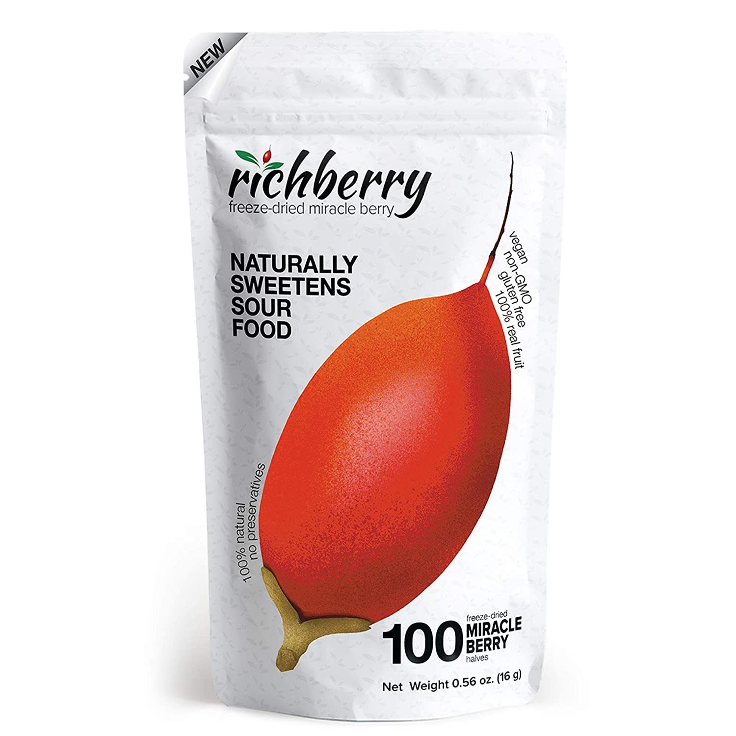 Miracle Berry by richberry, 1 Pack of 100 Halves (16g), Naturally Sweetens Sour Food, 100% Freeze-dried Premium Fruits, No Preservatives, Great for Snacks and Taste Tripping, Vegan
