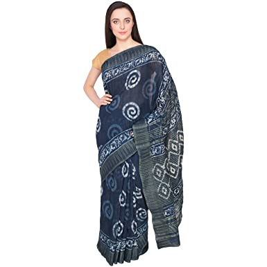 dae9ef4e72 INARA ROBES Women's Batik Print Cotton Silk Saree (AC-SKU598, Indigo Blue):  Amazon.in: Clothing & Accessories