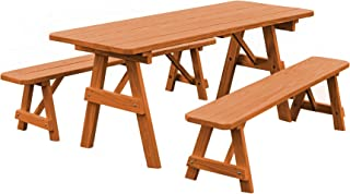 product image for Pressure Treated Pine 5 Foot Picnic Table with Detached Benches - Cedar Stain