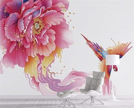Mural, Minimalista En 3D, Flor De Peonía Con Personalidad Moderna Y Ave Fénix Para