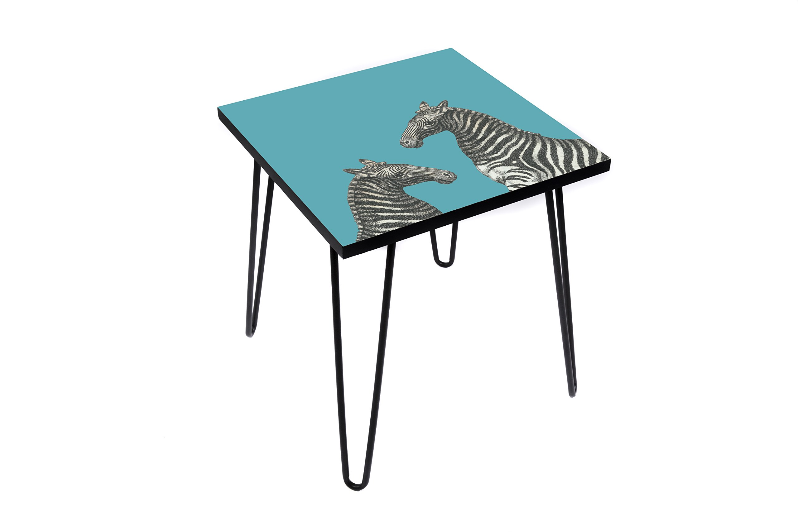 Wood End Table with Digital Print by LAMOU-Baltic Birch with Zebra Print-Steel Hairpin Legs-20''x20''