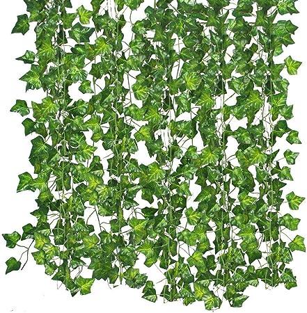 Artificial Hiedra, 86Feet Colgante Vid Plantas Follaje Hojas Verdes para Boda Cocina Pared Exterior Fiesta Jardín Festival Boda Decoración, 12 Filamentos: Amazon.es: Hogar