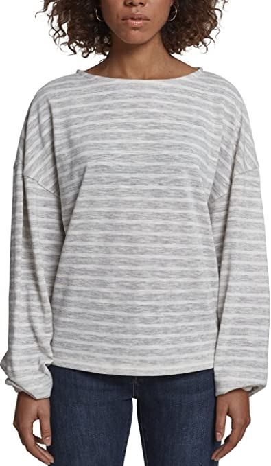 Urban Classics Ladies Oversize Stripe Pullover, Jersey para Mujer, Multicolor (Grey/White 01219), X-Large