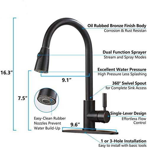 Hotis Modern Oil Rubeed Bronze Pull Down Sprayer Kitchen Faucet,Oil Rubbed Bronze Kitchen Sink Faucet with Deck Plate