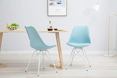 Stupendous Porthos Home Lvc011A Blu Midcentury Modern Eames Style Dsr Dining Room Chair With Unique White Wire Metal Base Easy Assembly One Size Blue Machost Co Dining Chair Design Ideas Machostcouk