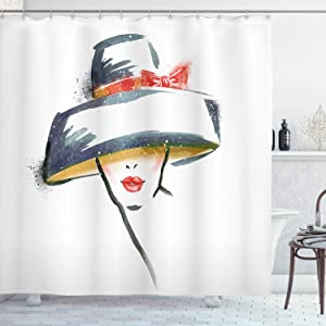 Ambesonne Modern Shower Curtain, Modern Fashion Woman with Vintage Hat Romantic Print, Cloth Fabric Bathroom Decor Set with Hooks, 70