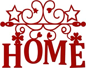 Home Metal Cutout Wall Sign, Metal Word Sign, Red Home Metal Wall Art Wall-Mount Metal Word Sculpture 3D Word Art Decor Home Accent for Modern Rustic or Vintage Farmhouse Style
