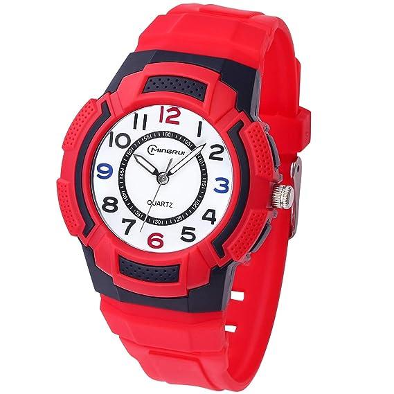 Reloj para niños, Reloj para niños Relojes Deportivos a Prueba de Agua para niños y niñas, Reloj de Cuarzo Banda de Silicona Impermeable, Mejor Regalo ...