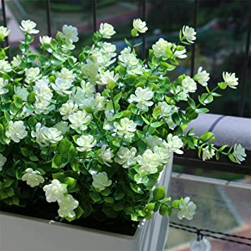 Plastic Artificial Fake Flowers Plant Pot Outdoor Home Office Wedding Decor Gift