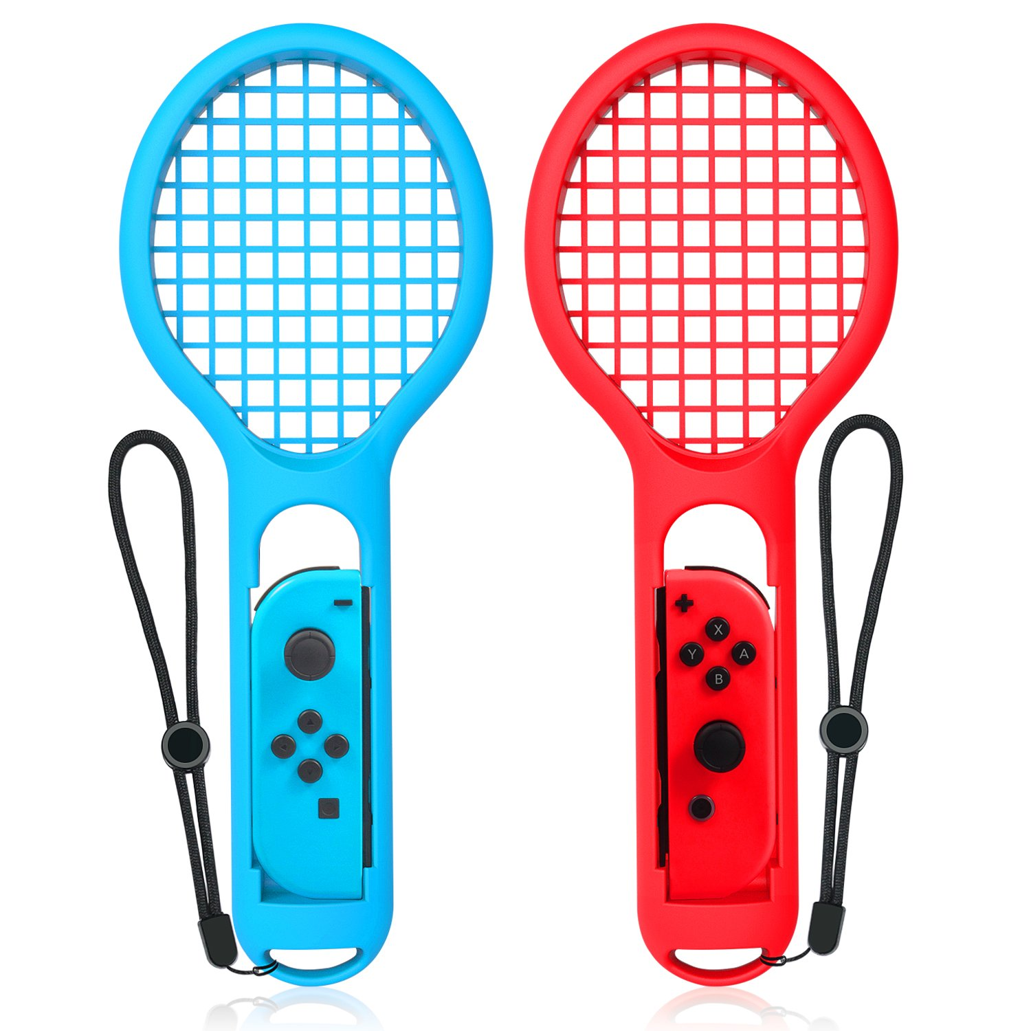 Tennis Racket for Nintendo Switch, Keten Twin Pack Tennis Racket for Joy-Con Controllers for Mario Tennis Aces Game, Grips for Switch Joy-Cons (1X Blue & 1X Red)