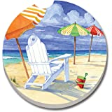 CounterArt Absorbent Stoneware Car Coaster, Beach Umbrellas