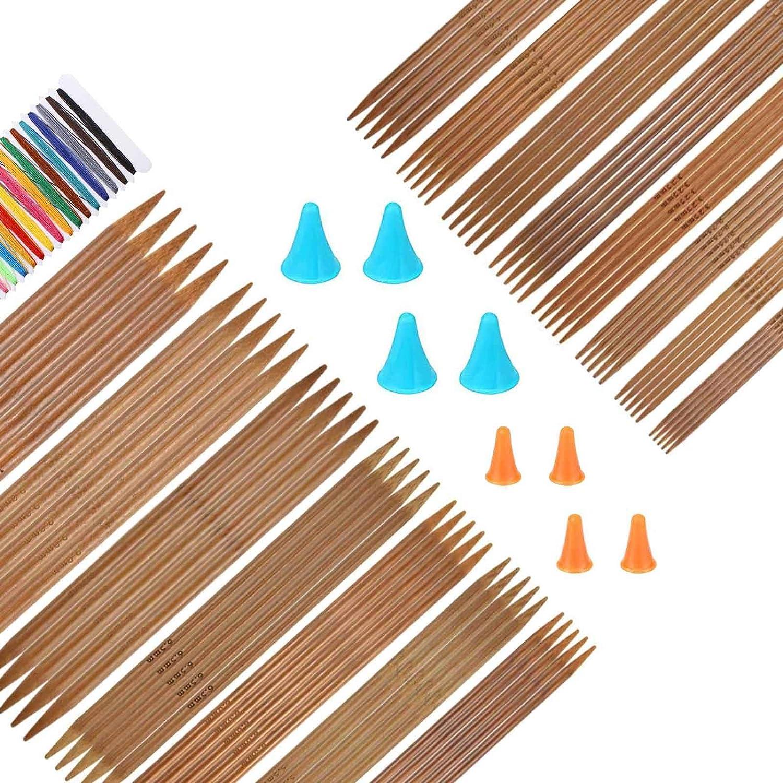 RayE 75 St/ück Stricknadeln Bambus Set 15 Gr/ö/ßen Doppelspitzen Handarbeit Knitting Needles Stricknadel Set 2 bis 10 mm f/ür Socken Handschuhe H/üte und Schals
