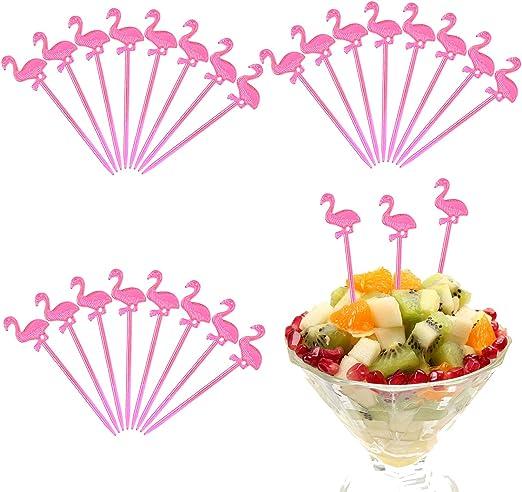 Elcoho 400 piezas de pl/ástico rosa flamenco p/úas c/óctel aperitivo Toppers Picks pl/ástico bebida p/úas para tropical fiesta decoraci/ón y suministros de fiesta Pink Flamingo