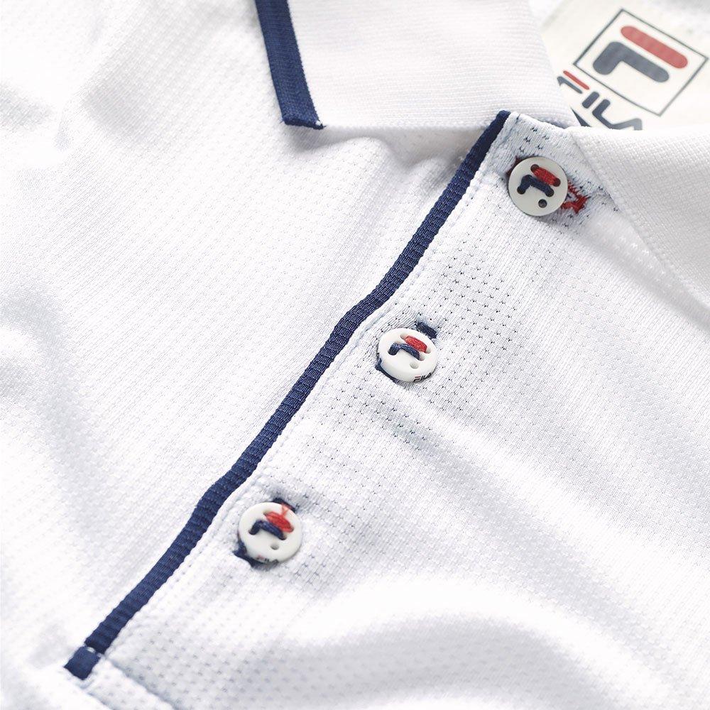 Fila Men's Heritage Mesh Polo Shirt, White, Navy, M
