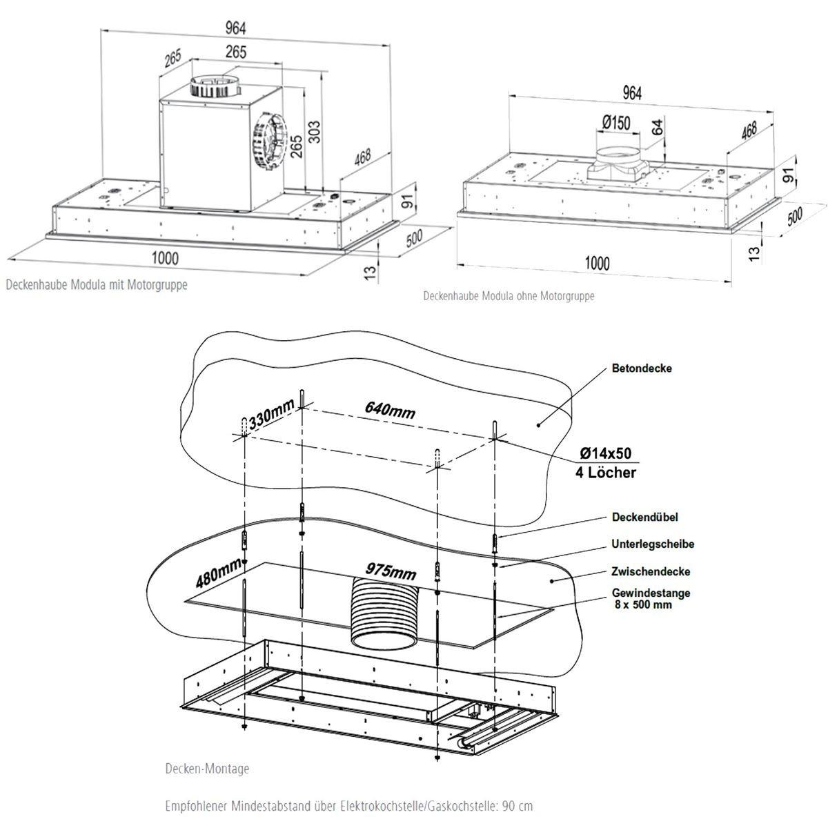 Oranier Modula 8756 11 Deckeneinbau Dunstabzugshaube Deckenl/üfter Deckenhaube
