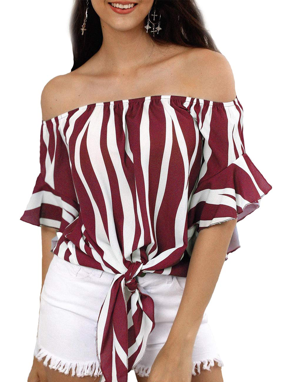 Striped Off Shoulder Bell Sleeve Shirt