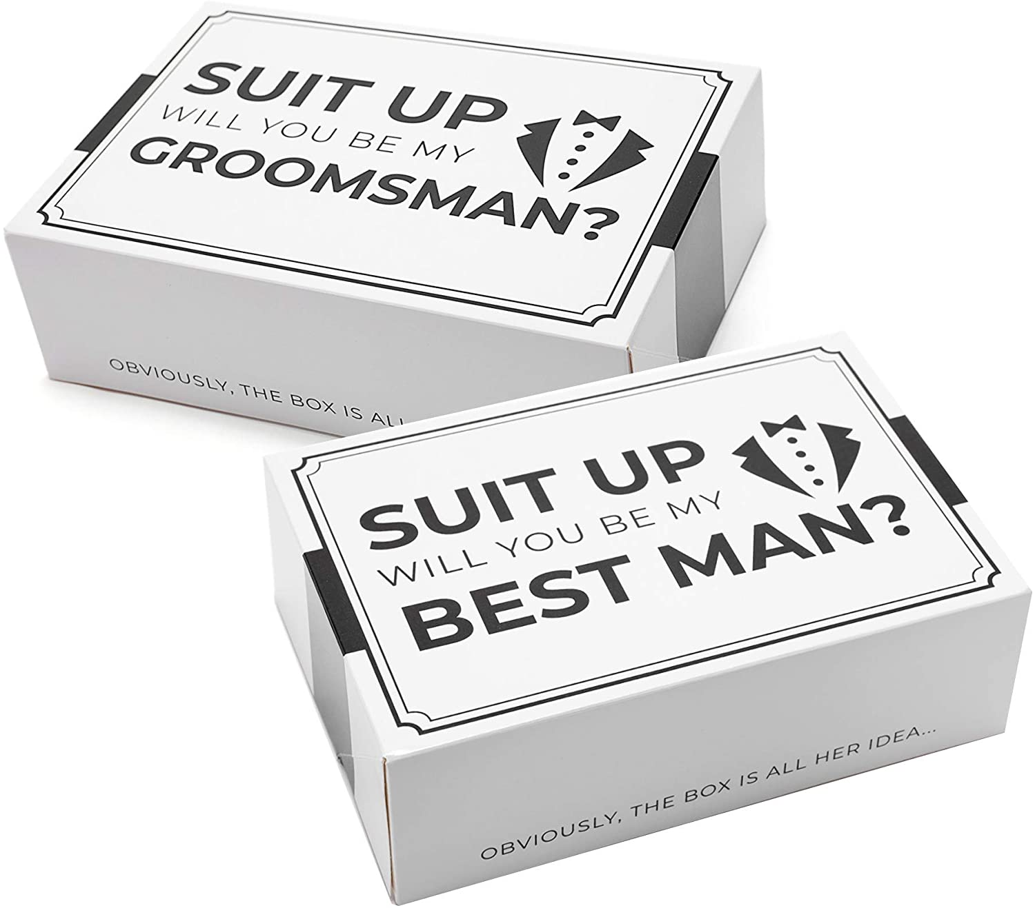Suit Up Cigar Gift Box Holder Best Man Proposal Mini paper box Will you be my Groomsman Gift Box Little Black Box