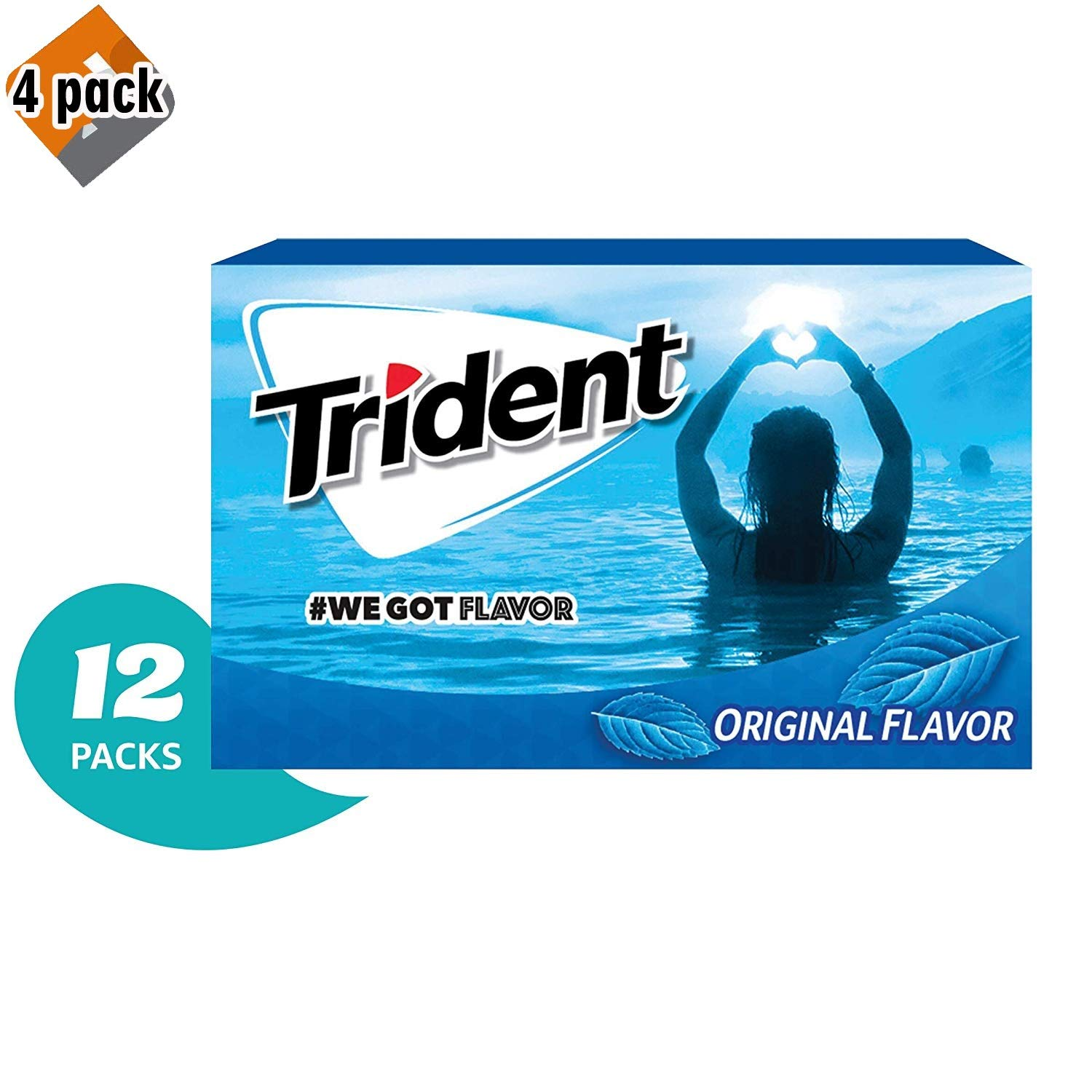 Trident Original Flavor Sugar Free Gum - with Xylitol - 12 Packs (168 Pieces Total) - Pack 4 by Trident