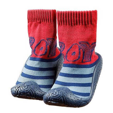 Casa de los niños calcetines con suela de goma ob-002, tamaño 4,