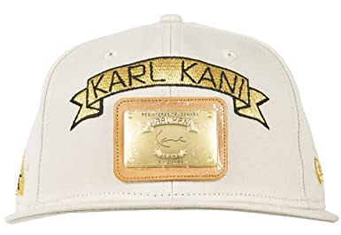 official photos 195c6 4abdc Karl Kani New Era Gold Plate Snapback Embroidered Hat Black White Light  Gray at Amazon Men s Clothing store