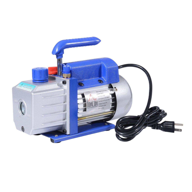 HomCom Dual Stage 5 CFM Rotary Vane 1/2 HP HVAC Refrigerant Vacuum Pump