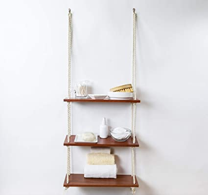 Hanging Shelves with White Cotton Rope | Floating Wall Shelves for Bedrooms  | Rustic Bathroom Shelf | Hanging Shelf for Home and Kitchen Wall Display  ...