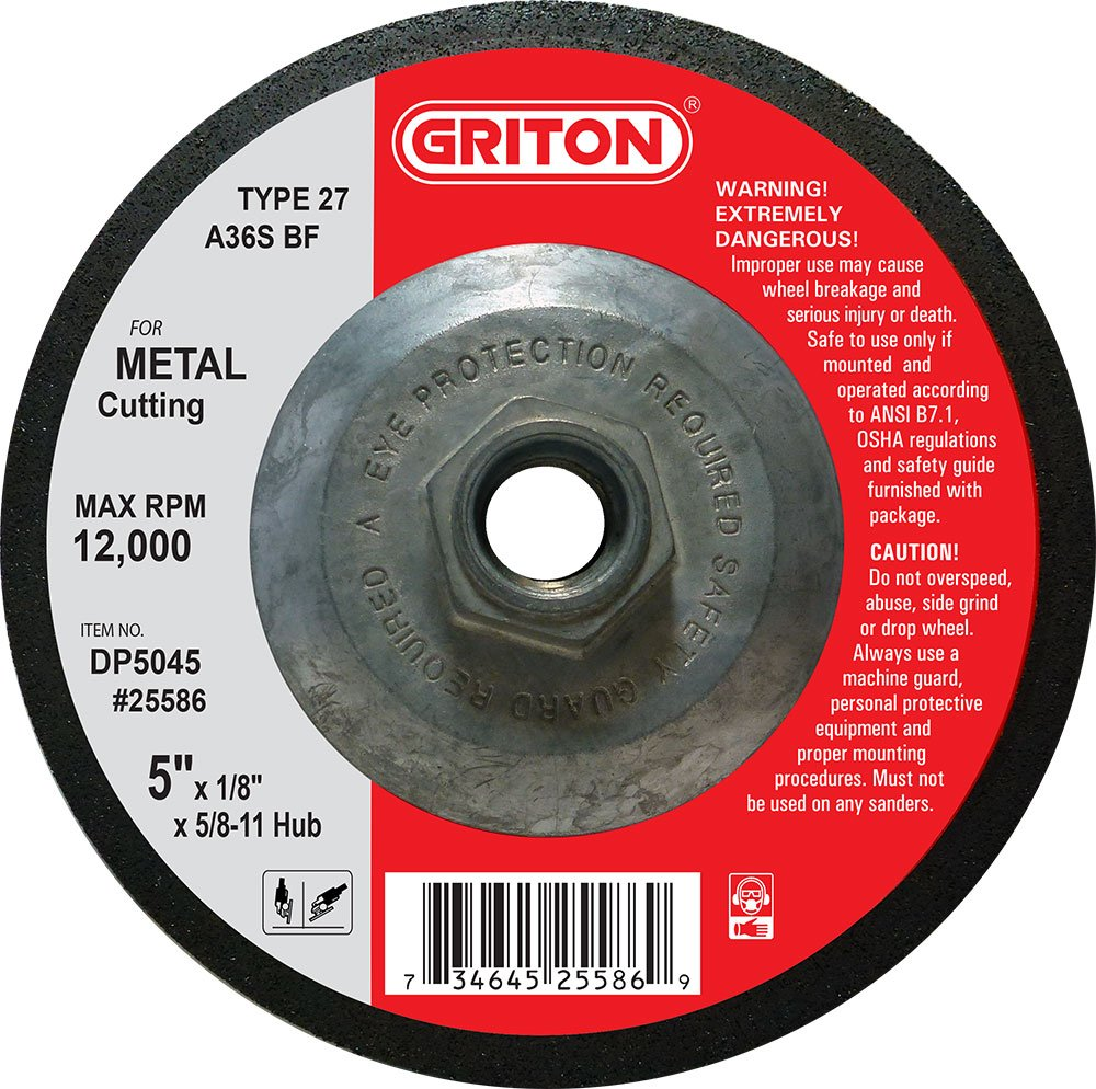 Pack of 10 12000 RPM Griton DP5045 Type 27 Pipe Cutting Wheel and Light Grinding with Hub Aluminum Oxide 5 Diameter