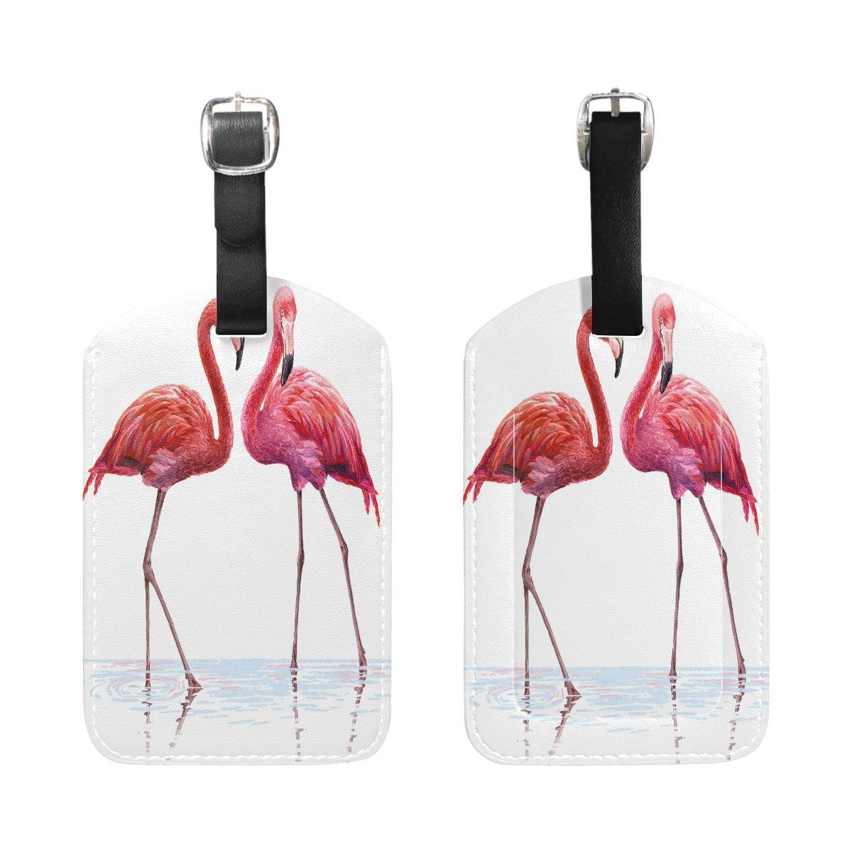Saobao Travel Luggage Tag Colorful Pink Flamingo PU Leather Baggage Suitcase Travel ID Bag Tag 1Pcs