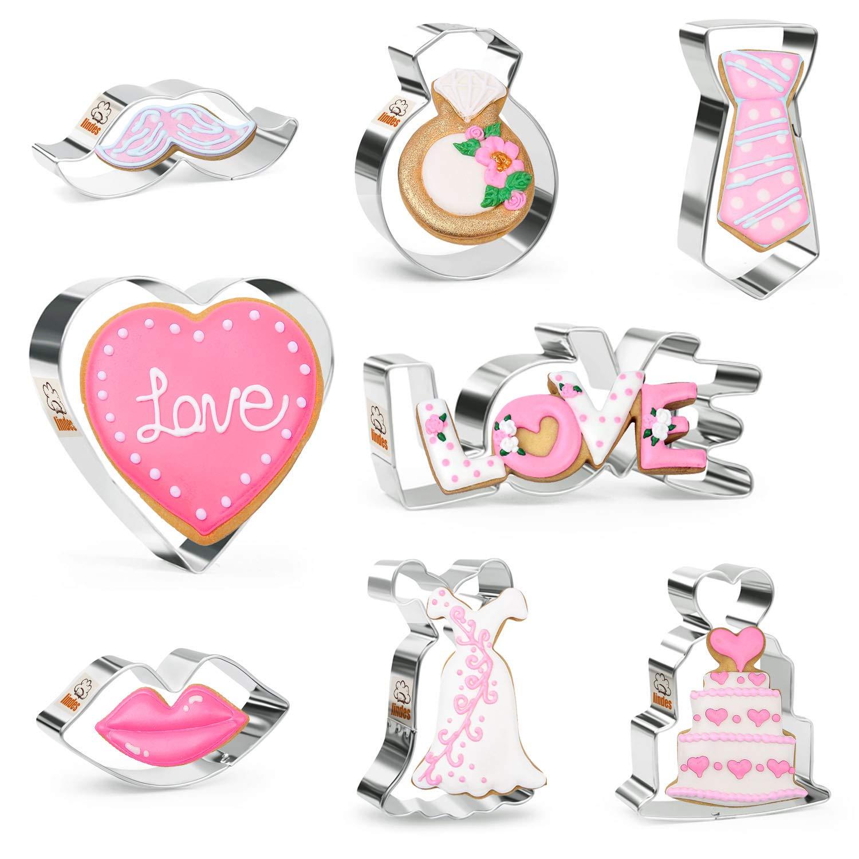 amor labios Iindes 8 piezas Cortadores de galletas de boda Set Acero inoxidable pastel D/ía de san valentin -Coraz/ón corbata bigote anillo vestido de novia