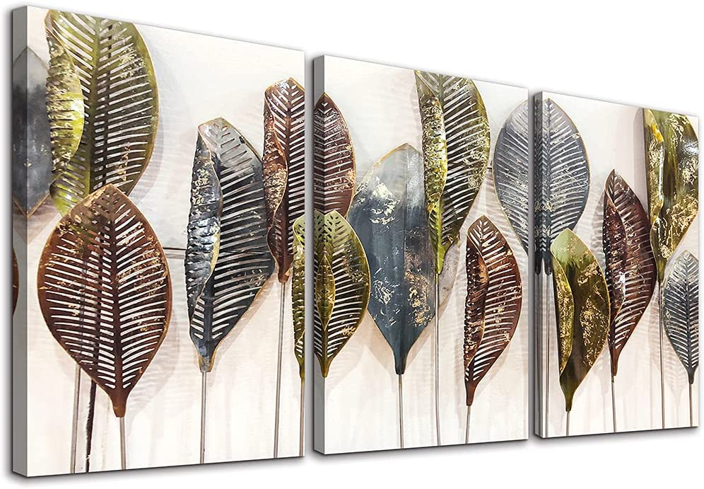 Family Wall Decor For Bedroom Canvas Wall Art For Living Room Modern Wall Decorations For Bathroom Abstract Leaf Paintings Artwork Inspirational Canvas Pictures Art Kitchen Home Decoration 3 Pieces