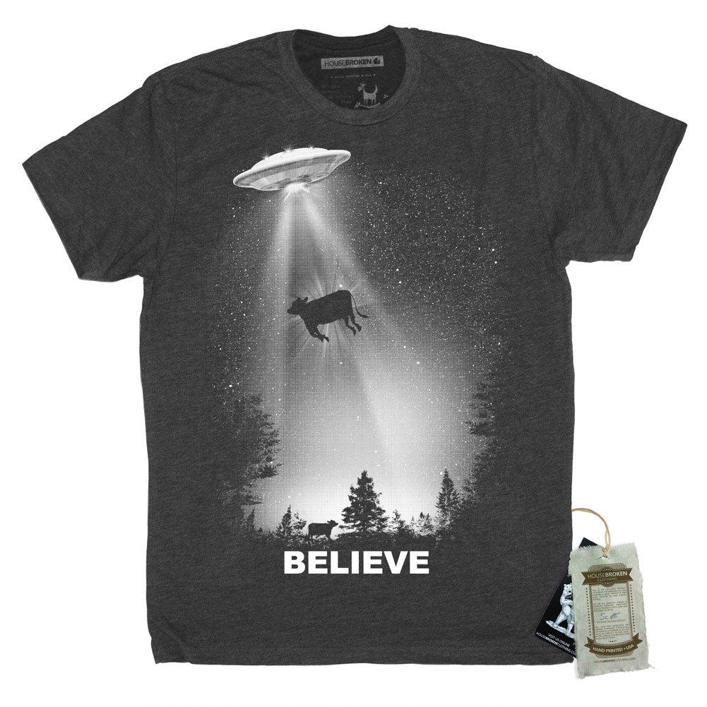 Mens UFO Alien Abduction Shirt Size Medium Color Vintage Black