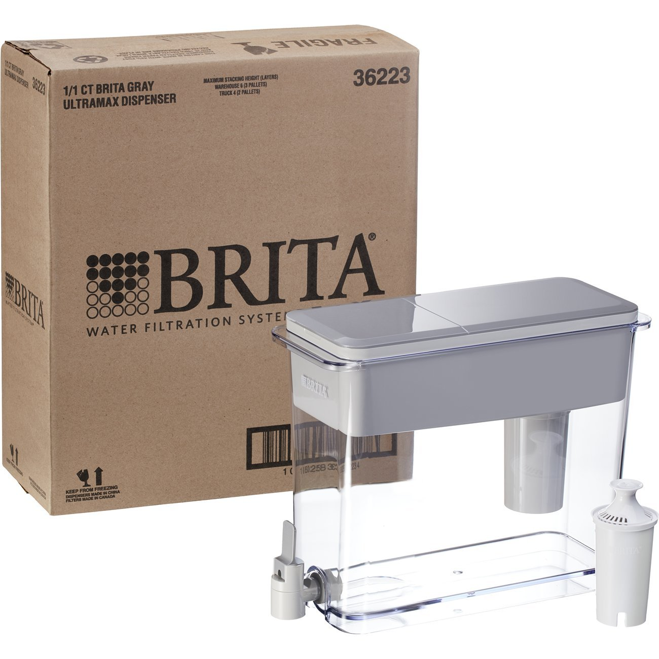 Brita Extra Large 18 Cup Filtered Water Dispenser with 1 Standard Filter, BPA Free – UltraMax, Gray by Brita (Image #5)