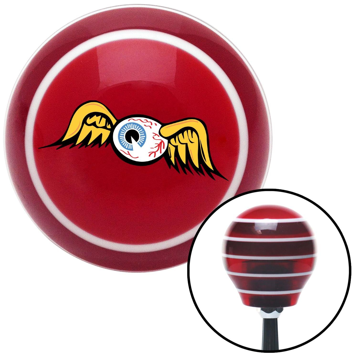 Flying Eyeball American Shifter 168526 Red Stripe Shift Knob with M16 x 1.5 Insert