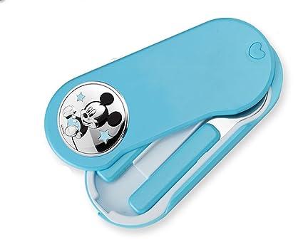 CUBIERTOS DE VIAJE para Bebe con adorno de Plata bilaminda de MICKEY MOUSE. Color azul