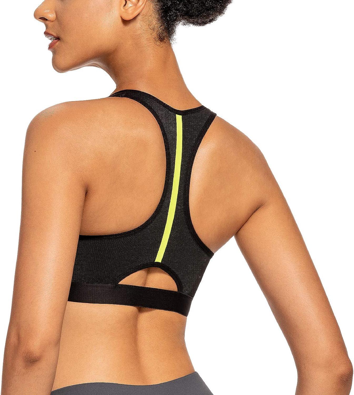 Deyllo Women/'s Front Zip Sports Bra High Impact Full Support Bounce Control Sports Bra Racerback