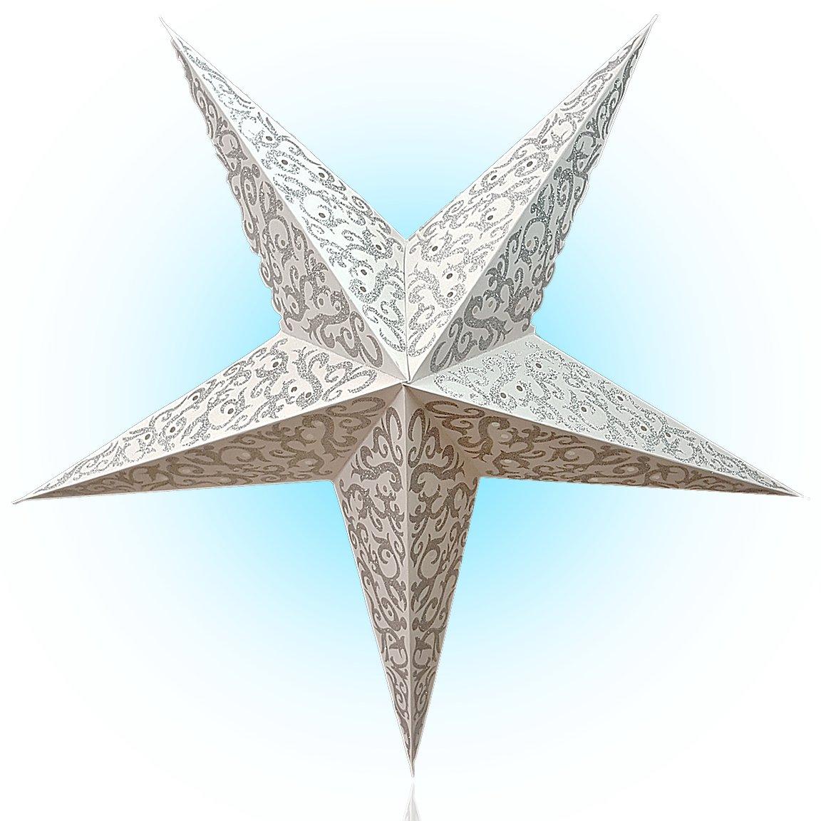 Happy Sales HSSL-FFRWHT, Game of Thorns Paper Star Lantern Silver