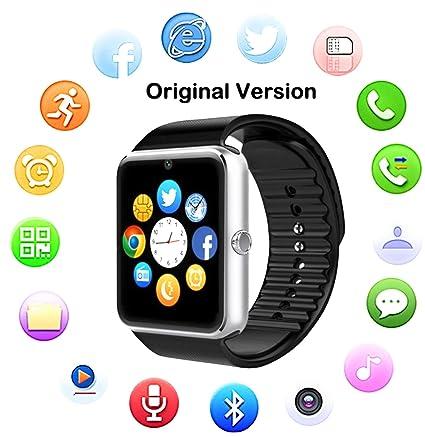 TOP-MAX Smartwatch, GT08 Bluetooth Reloj inteligente Plata con tarjeta SIM Cámara Ranura para