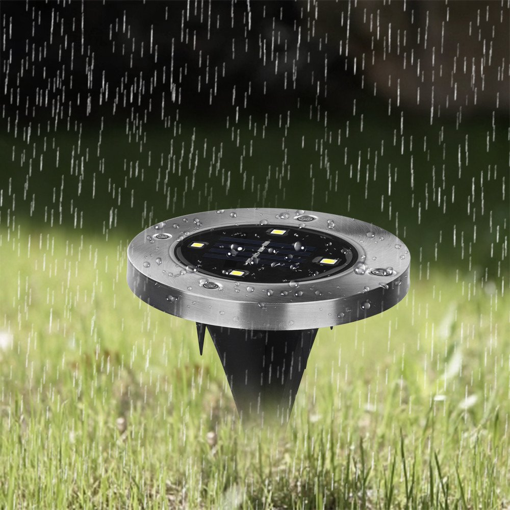 Solar Powered Ground Lights,elecfan Outdoor Water-Resistant Landscape Lighting Walkway In-Ground Disk Lights with Sensor for Patio Lawn Path Yard Driveway Pool Area Wireless Installation - Warm White