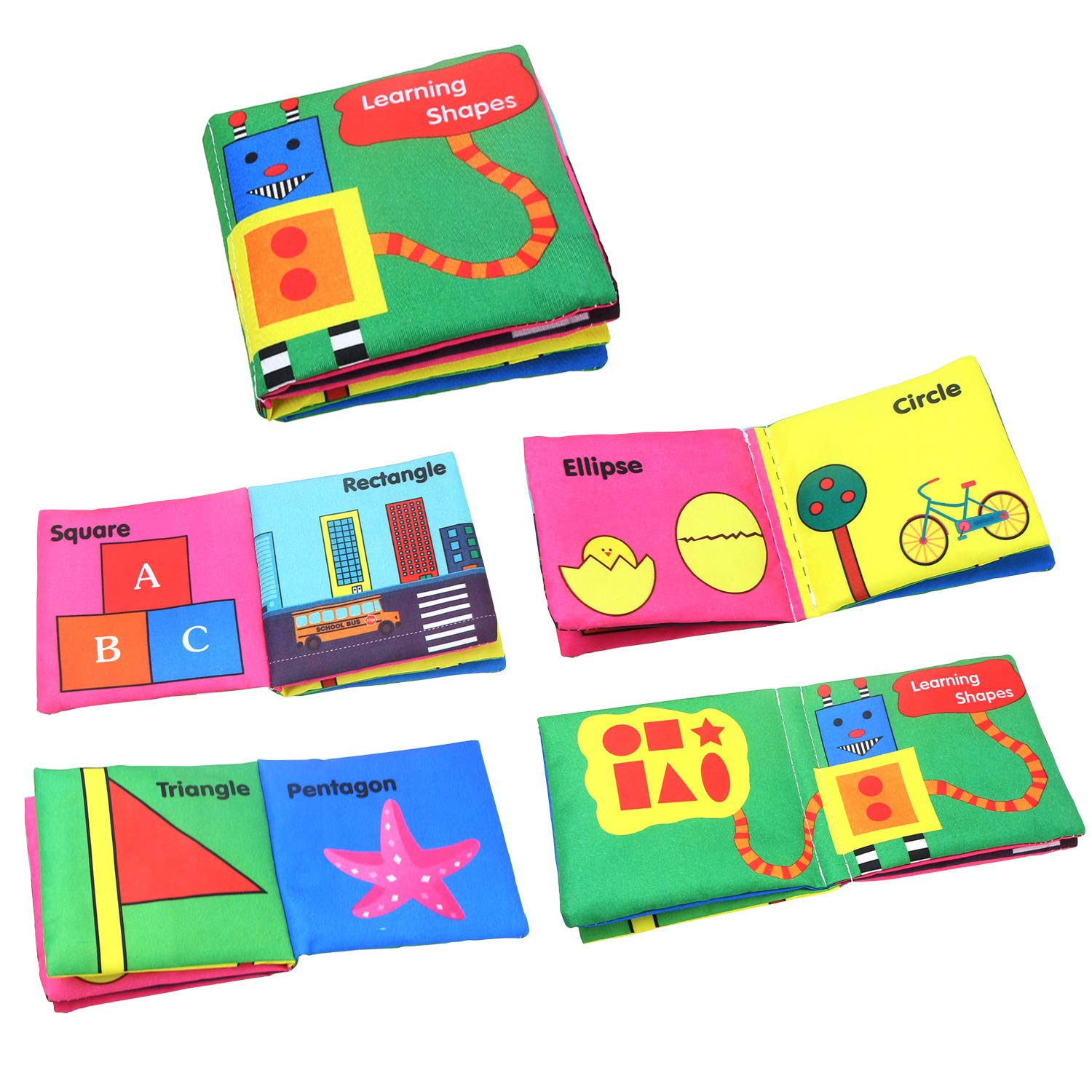 WeltHause Cloth Book Baby Non-Toxic Soft Cloth Book Set Infant Children Educational Toys, Baby Gifts for Boy and Girl, Pack of 6
