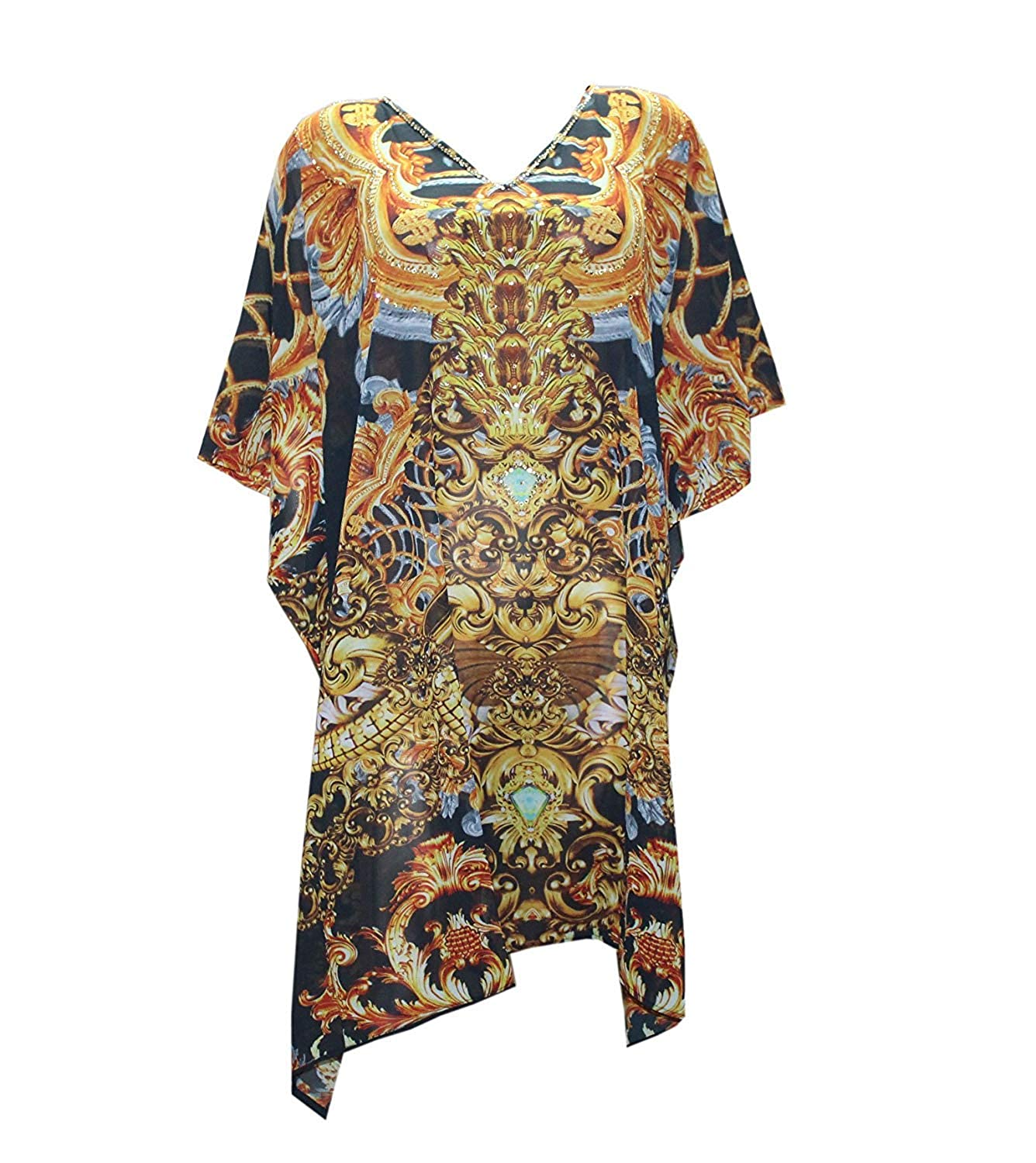 B01g918meo Odishabazaar Designer Digital Print Long Embellished Satin Silk Kaftan Resort Short Beach wear