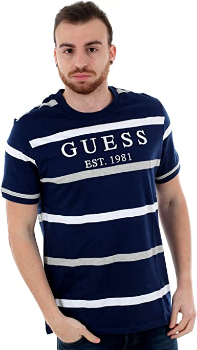 GUESS Camiseta Emmet Azul Marino Rayas Hombre M Azul: Amazon.es: Ropa y accesorios